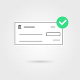 Bank check with green check mark icon and shadow Royalty Free Stock Images