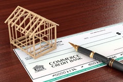 Bank Check with House Frame and pen Stock Images