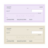 Bank Check with Modern Design. Flat illustration. Cheque book on colored background. Bank check with pen. Concept Stock Photos