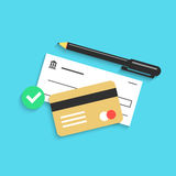 Bank check pen and credit card with shadow Stock Photo