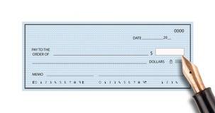 Bank check and pen Royalty Free Stock Image