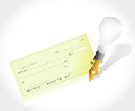 Bank check and pen illustration Royalty Free Stock Images