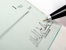 Bank check signature Stock Photography