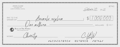 Bank check signed for charity. vector illustration