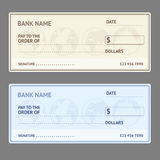 Bank Check Template Set. Vector Stock Images