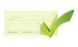 Bank checkbook and check mark illustration Royalty Free Stock Photo