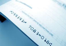 Bank cheque Royalty Free Stock Photo