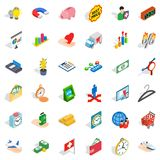 Bank cheque icons set, isometric style. Bank cheque icons set. Isometric set of 36 bank cheque vector icons for web isolated on white background Royalty Free Stock Images