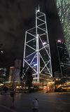 Bank of China skyscraper in Hong Kong by night Royalty Free Stock Photos