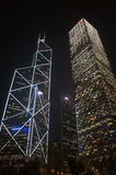 Bank of China Tower and Cheung Kong Centre by nigh Royalty Free Stock Image