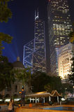 Bank of China Tower and Cheung Kong Centre by nigh Royalty Free Stock Photos