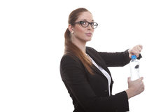 Bank clerk with water bottle Royalty Free Stock Photos