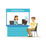 Bank Client Getting A Loan. Bank Service, Account Management And Financial Affairs Themed Vector Illustration. Smiling Cartoon Characters In Bank Office Stock Images