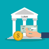 Bank coin and check of money concept. Bank coin and check icon. Money financial item commerce market and payment theme. Colorful design. Vector illustration Royalty Free Stock Photography