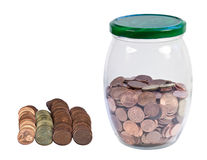 Bank with coins. Royalty Free Stock Photos