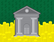 Bank and Coins Stock Image
