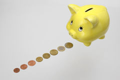 bank coins euro piggy 免版税库存照片