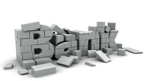 Bank collapse. 3d illustration of bank collapse concept, over white background Stock Photos