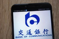 Bank of Communications logo displayed on a modern smartphone stock photography