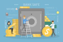 Bank concept illustration. People put their money in the safe. Idea of financial protection, money investment and other operations. Set of banking icons Royalty Free Stock Photography