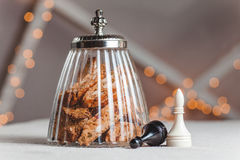 Bank cookies with nuts and chess Royalty Free Stock Images