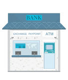 Bank counter currency exchange service and atm. Royalty Free Stock Images
