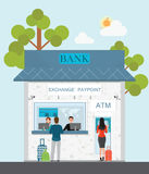 Bank counter currency exchange service and atm with customer. Stock Photography