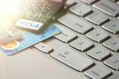 Bank Credit Card on a Computer Keyboard stock photo