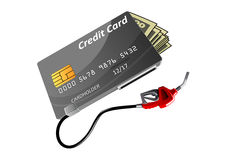 Bank credit card, money and gas nozzle Stock Image