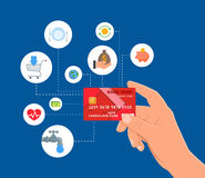 Bank Credit card payments concept vector illustration in flat style. Financial design elements and icons. Stock Photos