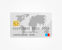 Bank credit card with world map. Isolated on white Stock Photography