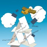 Bank credit cards, house of cards. An airplane with wings made of bank cards flies in the sky. Humorous illustration