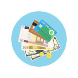 Bank credit concept design style. Card, banking and finance, payment, pay cash. Royalty Free Stock Photo