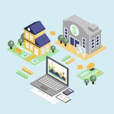 Bank Credit and Home Loan Concept with Isometric House. And financial icons illustration Royalty Free Stock Image