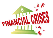 Bank Cut. In two by financial crises Royalty Free Stock Photo