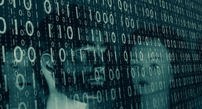 Bank cyber security, cybercrime background. Mannequin heads and computer binary code Royalty Free Stock Photography