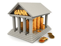 Bank. 3d illustration of bank full of golden coins Royalty Free Stock Images
