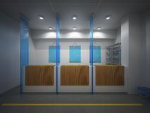 Bank. 3D render of inside of bank Royalty Free Stock Photo