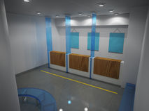 Bank. 3D render of inside of bank Royalty Free Stock Image