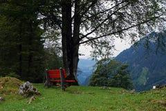 Bank in den Bergen, die Schweiz Stockbild