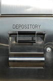 Bank deposit box. Steel bank deposit door, labeled depository stock photo