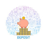 Bank deposit concept. Design template with flat line icons on theme money savings and deposit. Money pig. Vector illustration Stock Photography