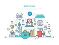Bank deposit. Financial bank, savings, money growth in bank deposits. Bank deposit concept. Financial bank, savings, money growth in bank deposits, cash, coins Royalty Free Stock Photos
