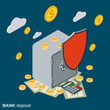 Bank deposit, financial security, money protection vector concept. Bank deposit, financial security, money protection flat isometric vector concept illustration Stock Images