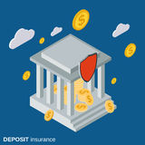 Bank deposit insurance vector concept. Bank deposit insurance flat isometric vector concept illustration Royalty Free Stock Image
