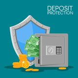 Bank deposit vector illustration flat style. Save your money concept. Dollar banknotes and coins in safe. Royalty Free Stock Image