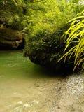 Bank des Gebirgsflusses mit enormen Flusssteinen Lizenzfreie Stockfotografie