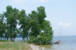 Bank des Kakhovske-Reservoirs nahe Stromleitungen Stockfotos