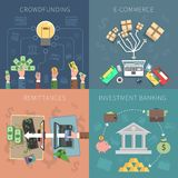 Bank Design Concept Set. With crowdfunding e-commerce investments flat icons isolated vector illustration Stock Photography