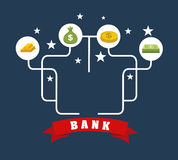 Bank design. Over  blue  background, vector illustration Royalty Free Stock Photography